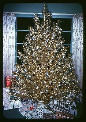 Original 35mm Kodak Photo slide 1961 Christmas Gold Tinsel Xmas Tree
