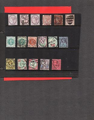Great Britain;Q Victoria;selection of 17 used stamps;cat value £230+