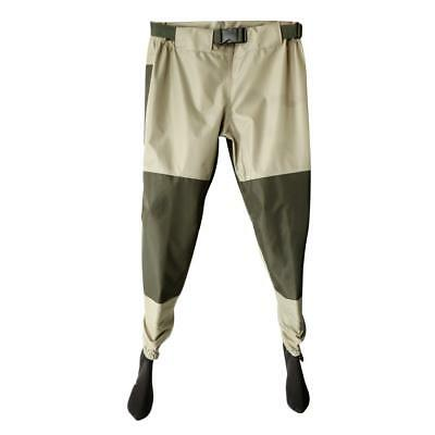 Breathable Waterproof Fishing Pants Elastic Waist Thigh Waders Boot-foot