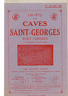 Ancien Tarif Caves Saint Georges De Port Vendres
