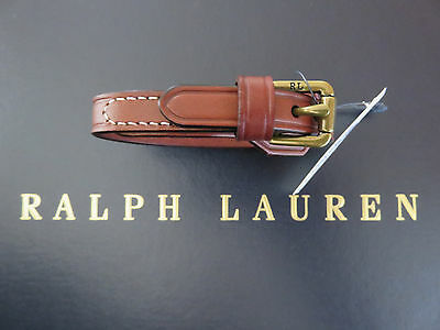 NEW RALPH LAUREN Polo Bracelet Wristband Saddle Brown Leather and Brass Hardware