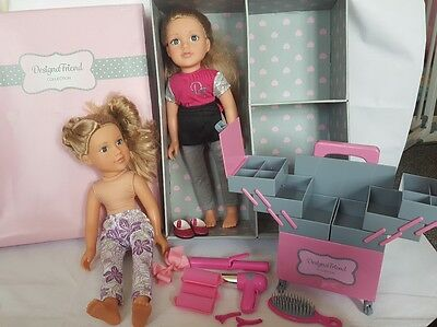 Chad Valley DesignaFriend Stylist Trolley & Accessories with two dolls