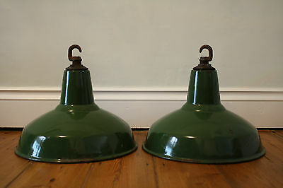 Two Vintage 1950's Green Factory Industrial Pendant Lamp Light Shades