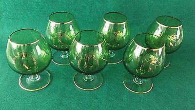 Set of 6x Napoleon Brandy Glasses - Rare Green Colour (01290)