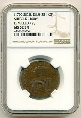 Great Britain 1790's Conder Token 1/2 Penny Suffolk - Burry MS62 BN NGC