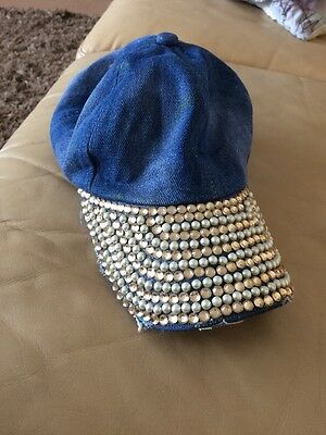 Girls Distressed Jean And Bling Baseball Cap