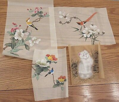 Collection 4 vintage ornate Chinese paintings on silk birds/flowers/cat