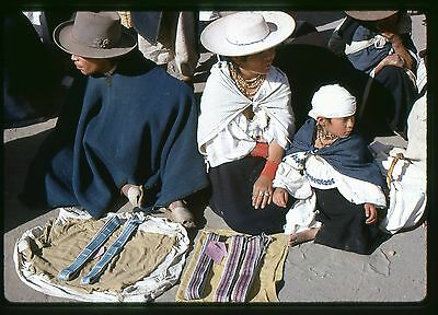 Original 35mm slide 1968 Family selling belts Otavalo Market Ecuador