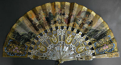 Fine Hand Carved French Mother Of Pearl Fan Tavern Scene Pierced Gilded