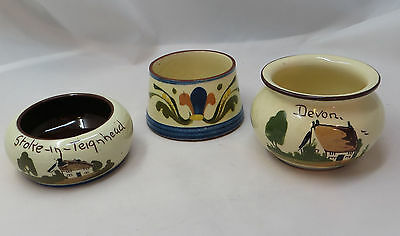 3 Vintage Torquay Motto Ware Small Pots, St Marychurch, Aller Vale, Babbacombe