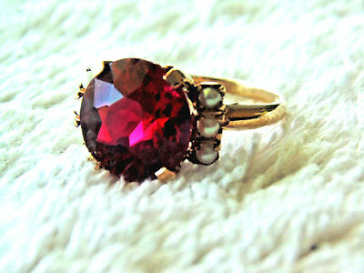 Old Victorian Estate 10K solid gold Vintage Ruby seed Pearls -SIZE 7