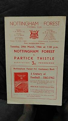 Nottingham Forest v Partick Thistle - 1965/66 Friendly programme