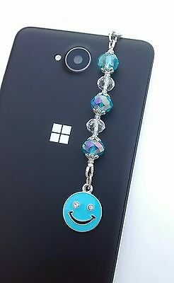 Dust plug dangle, enamel smiley face, for mobiles iPad iPhone tablets