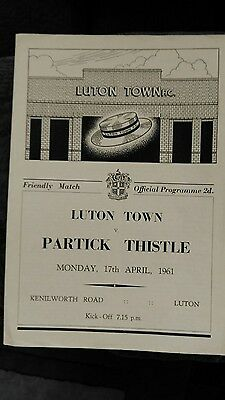 Luton Town v Partick Thistle - 1960/61 Friendly Programme