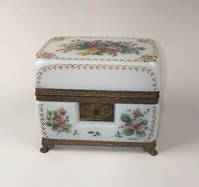 "Antique Opaline Glass ""Bulles de Savon"" Locking Footed Casket Box Signed, France"