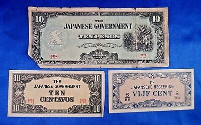 Japanese Government 10 Pesos 10 Centavos 5 Cent Banknote Lot of 3