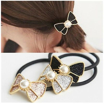 3Pc Fashion Women's Pearls Hair Rope Elastic Bow Hair Rings Band Ponytail Holder