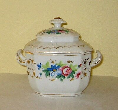 Old Paris style China  SUGAR BOWL + LID -  FGC  hand painted flowers gilt  c1870