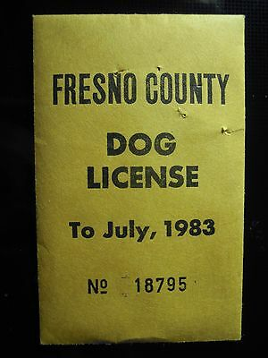 Fresno County California Dog July 1983 License or Tag (New old stock)
