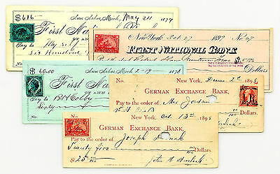 5 diff. documentary stamp bank checks USA nice used 1870's-1900's