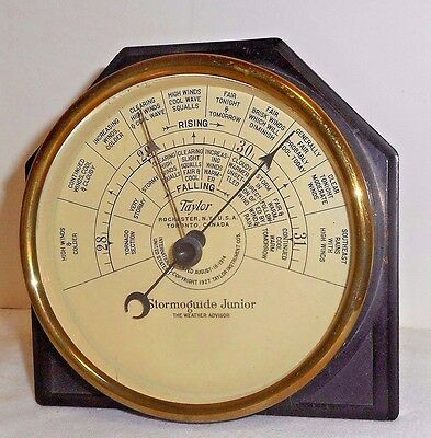 Antique Taylor Stormoguide Junior Weather Advisor Art-Deco Bakelite Barometer