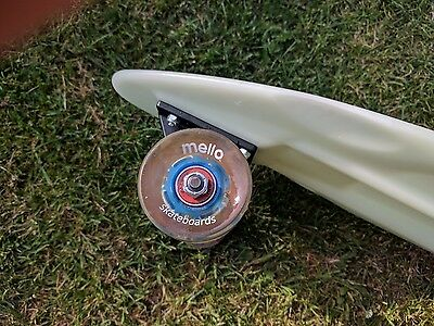Penny longboard + Blue and Red Mello LED Wheels.