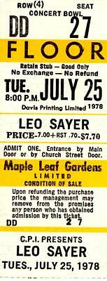 LEO SAYER 1978 Concert Ticket Stub TORONTO MAPLE LEAF GARDENS Very Rare. UNUSED.