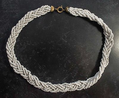 Vintage 1950s Seed Bead White Plait Style Necklace