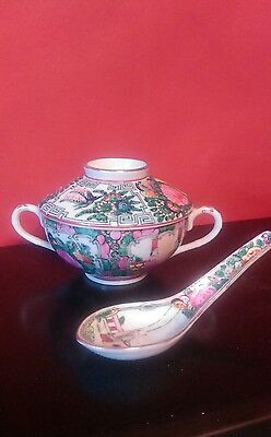 Vintage hand painted bone china tea cup with lid