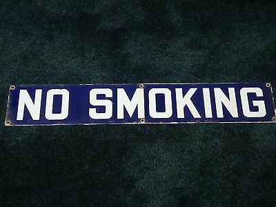 Vintage Blue and White No Smoking Porcelain Sign 4X24