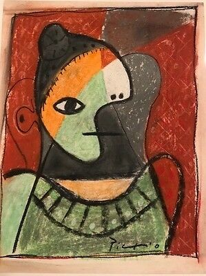 PICASSO -  ORIGINAL PAINTING/DRAWING PASTEL on paper- signed Picasso