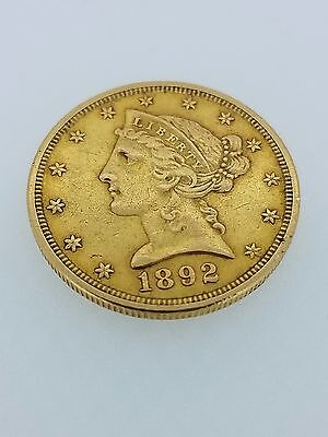 1892-S $5  Liberty Head Half Eagle US Gold Coin