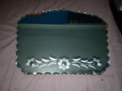 1930's Art Deco Circular Scalloped Edge Mirror With Etched Inlay