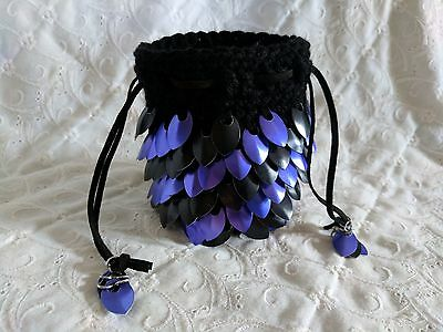 Dragon Scale Dice Bag with BLACK & PURPLE Metal Scales - HANDMADE CROCHETED