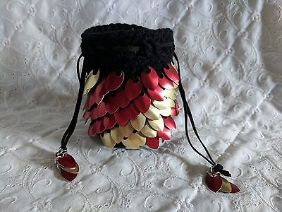 Dragon Scale Dice Bag with RED & GOLD Metal Scales - HANDMADE CROCHETED