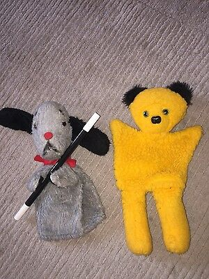 Sooty And Sweep with Working Squeaker Puppets With Wand Vintage Excellent Condt