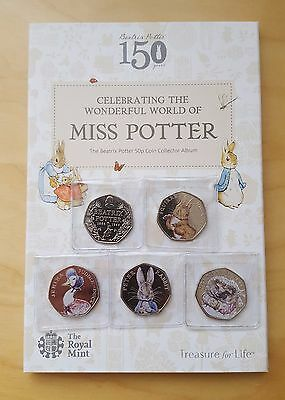 Royal Mint Album + Full Set of Coloured Beatrix Potter 50p Coins