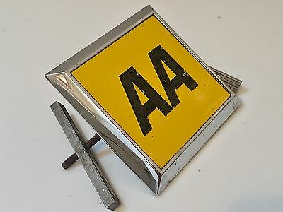 Vintage Aa Uk Square Classic Car Badge Grille Bumper Mascot Chrome Emblem