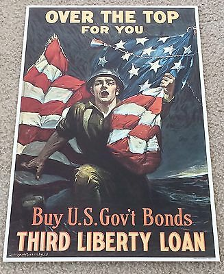 """WW I """"BUY US GOVN'T BONDS OVER THE TOP"""" 1964 Time Reproduction"""