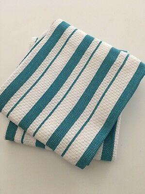 """Williams-Sonoma NWOT 2 New Basketweave """"TURQUOISE"""" Striped Dish Towels 20x30"""