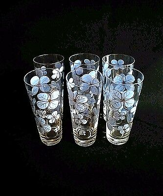 """Set of 6 Etched Tall Drinking Glasses Painted Blue & Gold Flowers 12 oz 6.75"""""""