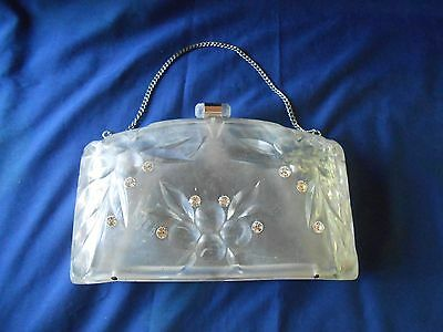 Vtg 1950s Clear Lucite Clutch Purse Carved Cherries & Rhinestones Chain Handle