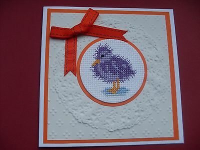 Hand Made Completed Cross Stitch Cards Fluffy Duckling