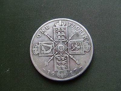 George V.  1917, Silver Florin.   Scarce Date.   Nice Condition.