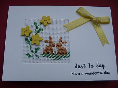 Hand Made Completed Cross Stitch Cards Bunnies