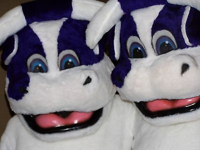 Purple Cows Mascot Costumes- Adult Suits Extra Large with Detailed Heads