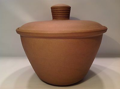 Edith Heath Ceramics Pottery Cookie Jar Canister Dutch Oven Brown White Coupe