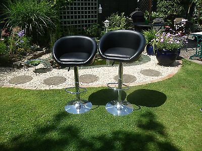 Pair of Chrome plated/Black faux leather stools