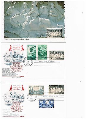 3 First day covers Scott #1408  Stone Mountain Memorial Carving