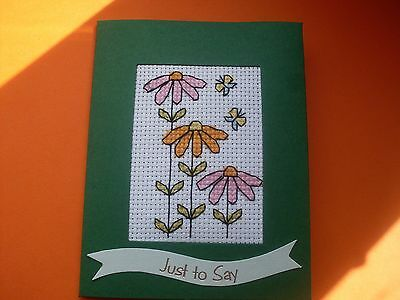 Hand Made Completed Cross Stitch Cards Flowers